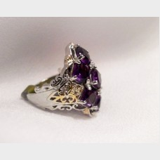 Sterling Silver and Purple Amethyst Ring with Vermeil Accents