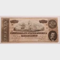 $20 Confederate States of America Issue 1864 FRCS-67 XF Condition