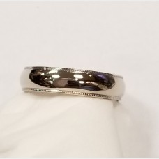 14K Men's White Gold Band