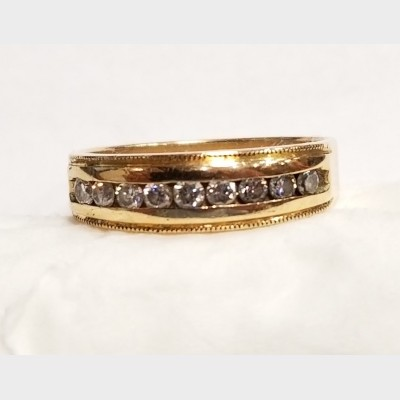 14K Men's Yellow Gold and Diamond Ring