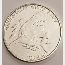 2015 Tokelau Mokoha Great White Shark 1 ozt Silver Coin $5 Brilliant Uncirculated
