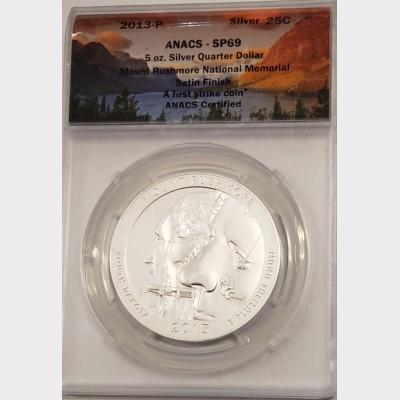 2013 5 oz ATB Mount Rushmore Silver Coin ANACS SP69
