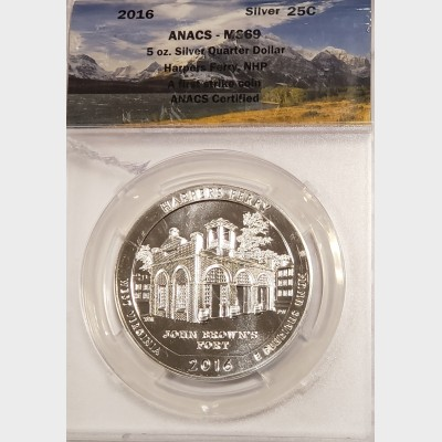 2016 5 oz ATB Harpers Ferry Silver Coin ANACS MS69