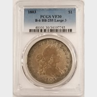 1803 Draped Bust Dollar PCGS VF30 Large 3 B-6 BB-255