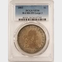 1803 Draped Bust Dollar PCGS VF30 Large 3 B-6 BB-255