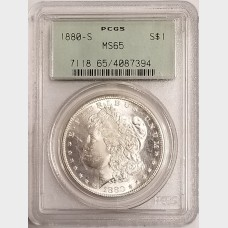 1880-S Morgan Silver Dollar $1 PCGS MS65 OGH