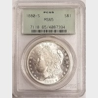 1880-S Morgan Silver Dollar $1 PCGS MS65
