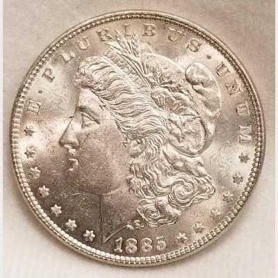 1885 Morgan Silver Dollar BU RAW