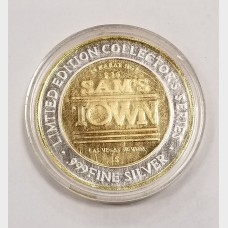 1993 Sam's Town Hotel and Casino $10 Gaming Token AU .999 Fine Silver