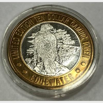 1994 Edgewater Hotel & Casino $10 Gaming Token AU .999 Fine Silver