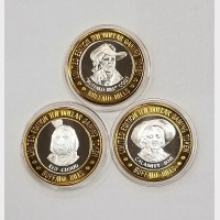 2000 Buffalo Bills Resort & Casino $10 Silver Tokens (3) LE