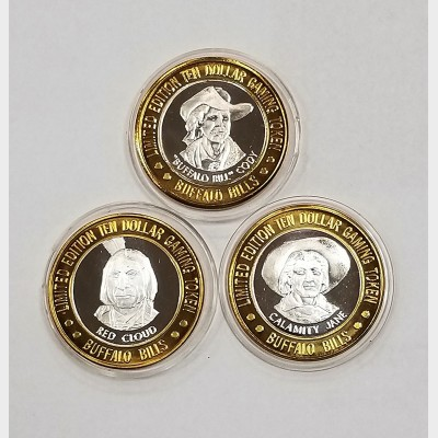 2000 Buffalo Bills Resort & Casino $10 Silver Tokens (3) LE