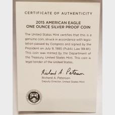 2015 W American Eagle 1 Ounce Bullion Coin $1 Proof US Mint
