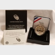 2015 W U.S. Marshals Service 225th Anniversary Silver Commemorative Coin $1 Proof US Mint