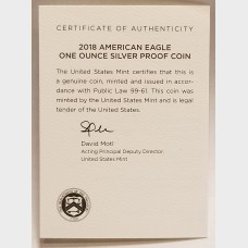 2018 W American Eagle 1 Ounce Bullion Coin $1 Proof US Mint