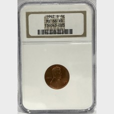 1942 S Wheat Penny MS-66 NGC RD