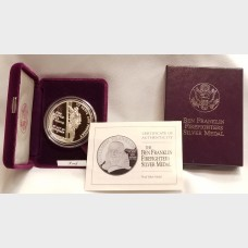 1992 P Ben Franklin Firefighters Silver Medal $1 BU US Mint