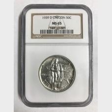1939 Commemorative Silver Half Dollar Set  Oregon Trail NGC MS65