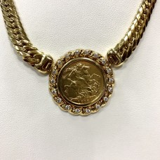 1919 British Sovereign 22k Gold Coin Pendant in Bezel & 18k Gold Chain