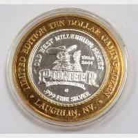 2001 Pioneer Hotel & Casino Silver $10 Token AU .999 Fine Silver
