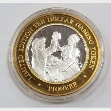 2000 Pioneer Hotel & Casino $10 Gaming Token AU .999 Fine Silver