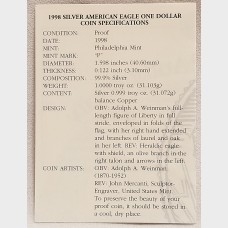 1998 P American Eagle 1 Ounce Bullion Coin $1 Proof US Mint