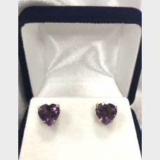 14KT Heart-Shaped Amethyst Earrings