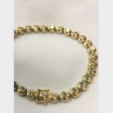 14 K Yellow Gold and Diamond Bubble Tennis Bracelet