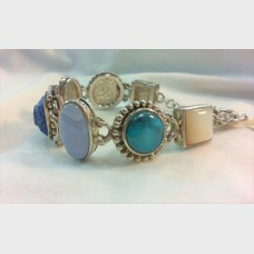 Whitney Kelly Sterling Silver MOP, Turquoise,Lace Agate, Lapis Bracelet