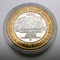 Reno/Tahoe International Airport $10 Gaming Token .999 Fine Silver