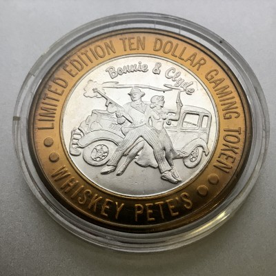 """Whiskey Pete's Casino """"Bonnie and Clyde"""" $10 Gaming Token .999 Fine Silver"""