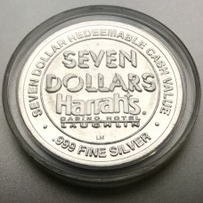 Harrah's Casino and Hotel Laughlin $7 Gaming Token .999 Fine Silver Variation 2