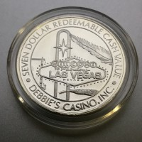 Debbie Reynold's Hotel and Casino $7 Gaming Token .999 Fine Silver