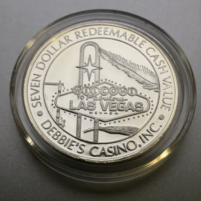 Debbie Reynold's Hotel and Casino $7 Gaming Token .999 Fine Silver