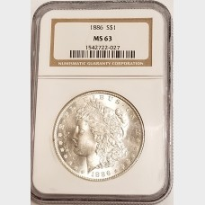 1886 Morgan Silver Dollar NGC MS63