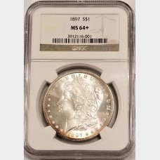 1897 Morgan Silver Dollar NGC MS64+