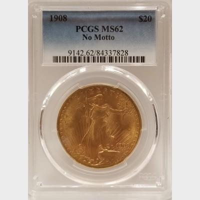 1908 $20 Gold St. Gaudens PCGS MS62 NO MOTTO