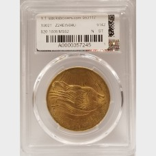 1908 $20 Gold St. Gaudens PCGS MS62 NO MOTTO