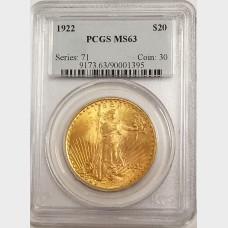 1922 $20 St. Gaudens Gold Coin w/Motto PCGS MS-63