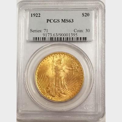1922 $20 Saint- Gaudens Double Eagle w/Motto PCGS MS63