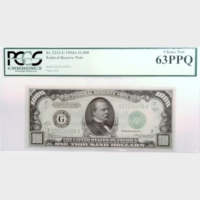 $1000 Series 1934-A Federal Reserve Note FR2212-G PCGS 63PPQ CH NEW