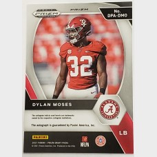 Dylan Moses Panini Prizm Draft Picks Silver RC Auto Card
