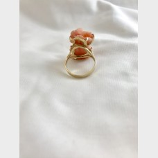 14KT Yellow Gold Ring with Coral Angel Skin