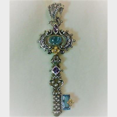 Barbara Bixby Sterling Silver w/ 18K Yellow Gold Topaz & Amethyst Key Pendant