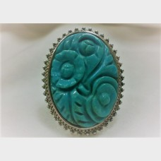 Amy Kahn Russell Carved Turquoise 'Camellia' Sterling Silver Ring