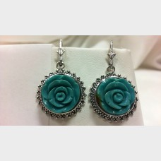 Amy Kahn Russell Sterling Silver Carved Turquoise Rose Flower Earrings