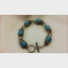 Barbara Bixby Sterling Silver Turquoise Scarab Bracelet with 18K Yellow Gold Flowers