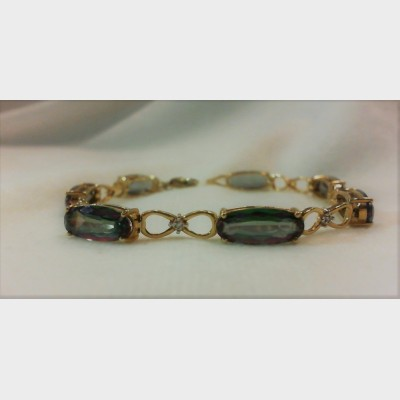 10K Yellow Gold Long Oval Mystic Topaz  &  Diamond Accent Bracelet 7 3/4""