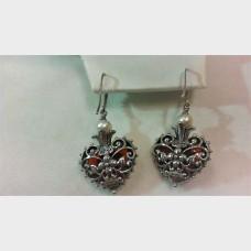 Barbra Bixby Carnelian Heart  Earrings Sterling Silver with 18K