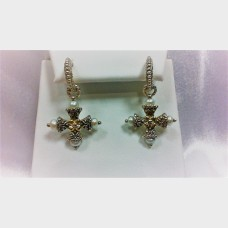 Barbara Bixby Cultured Pearl Maltese Cross Hoop Earrings